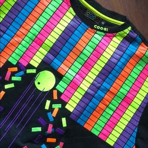 COOGI NEON / BLK embroidered mix media t shirt 3X